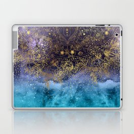 Gold floral mandala and confetti image Laptop & iPad Skin