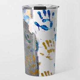 Handprints on the wall Travel Mug