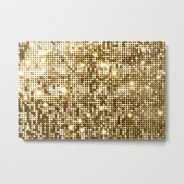 Golden Metallic Glitter Sequins Metal Print