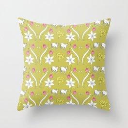 Cows In Clover Throw Pillow