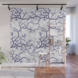 Abstract navy blue gray lavender floral illustration Wall Mural