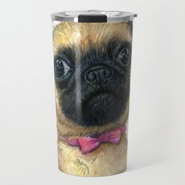 Cute Pug Puppy Dog Watercolor Painting Travel Mug