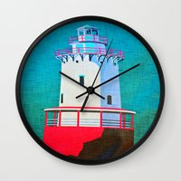lighthouse Wall Clocks featuring Lighthouse by Judy Palkimas