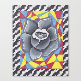 Grey Rose with Patterns (Hand Drawn) Canvas Print
