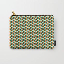 Aqua/Orange Geometric Carry-All Pouch