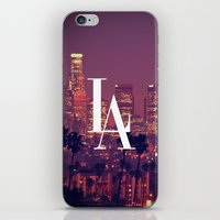 dodgers iPhone & iPod Skins featuring Downtown LA Vintage Skyline Typography by RexLambo