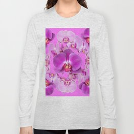 Ornate Pink & Purple  Butterfly Orchids Long Sleeve T-shirt