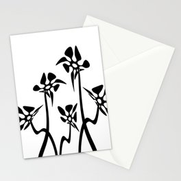 Five Abstract flowers black and white Stationery Cards