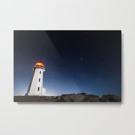 Peggy's Cove Lighthouse at Night Metal Print