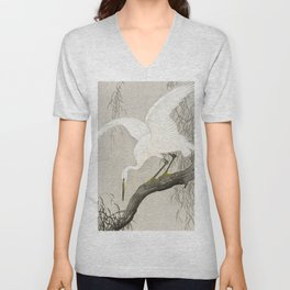 White Heron Sitting On A Tree Branch - Vintage Japanese Woodblock Print Art Unisex V-Neck