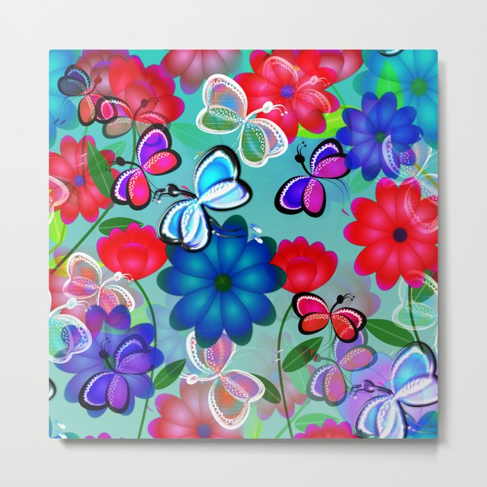 Abstract Butterflies with Flowers (Blue) Metal Print