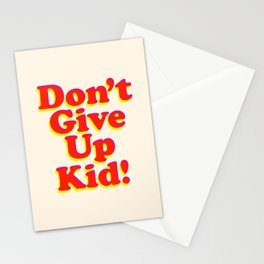 Don't Give Up Kid red yellow pink motivational typography poster bedroom wall home decor Art Print Stationery Cards