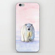 Polar bear in the icy dawn iPhone Skin