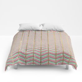 Modern faux gold pink turquoise geometrical chevron Comforters