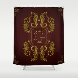 Letter G Seahorse Shower Curtain