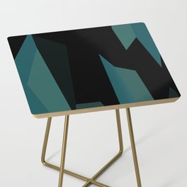 teal and black abstract Side Table