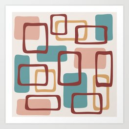 Mid Century Modern Abstract Squares Pattern 442 Art Print