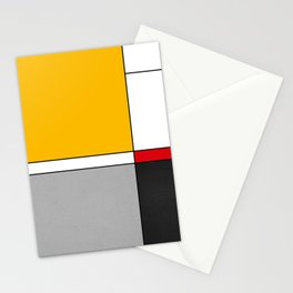 Mid century Modern yellow gray black red Stationery Cards