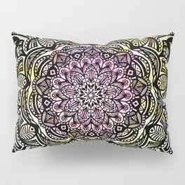 DETAILED CHARCOAL MANDALA (BLACK AND WHITE) WITH COLOR (PINK YELLOW TEAL) Pillow Sham