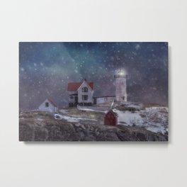 Winter Nights at Nubble Light - Maine Lighthouse Series Metal Print