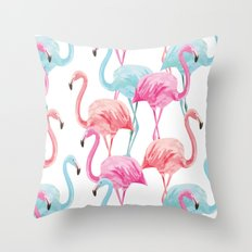 flamingo pink and blue watercolor seamless pattern Throw Pillow