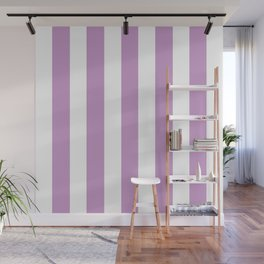 Light grayish magenta violet - solid color - white vertical lines pattern Wall Mural