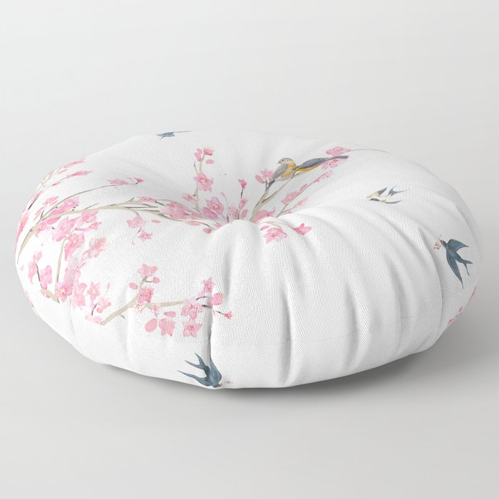 Birds and cherry blossoms Floor Pillow