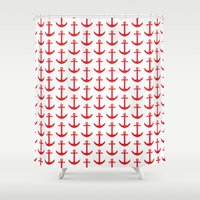 preppy Shower Curtains featuring Preppy Nautical - Seaside Pattern - Red Anchor by Nautical Home Decor & Beach House Decor
