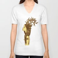 antlers V-neck T-shirts featuring Antlers by MorningMajor