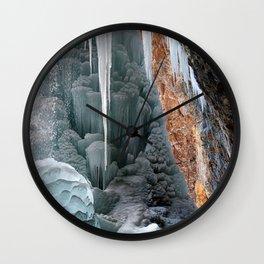 Behind Spouting Rock  Frozen Waterfall - Hanging Lake - Glenwood Canyon Colorado Wall Clock