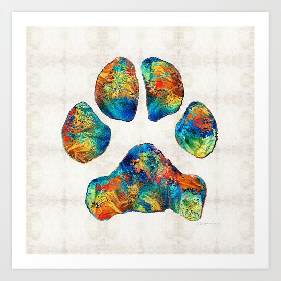 Colorful Dog Paw Print by Sharon Cummings Art Print