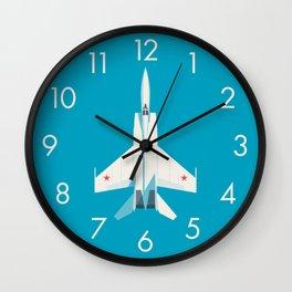 MiG-25 Foxbat Interceptor Jet Aircraft - Cyan Wall Clock
