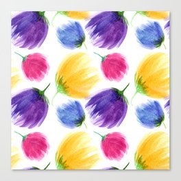 Colorful tulips. Watercolor flowers Canvas Print