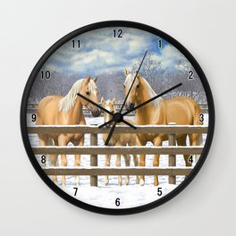 Palomino Quarter Horses In Snow Wall Clock