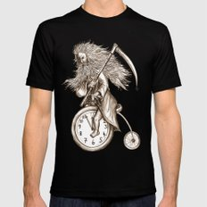Father Time on a Penny Farthing Mens Fitted Tee Black MEDIUM