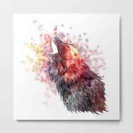 Abstract Howling Wolf in Pastels Metal Print