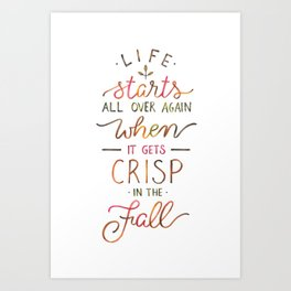 Crisp in the Fall - The Great Gatsby quote Art Print