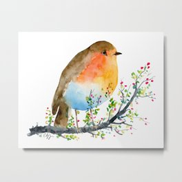 Watercolor Robin on Berry Branch Metal Print