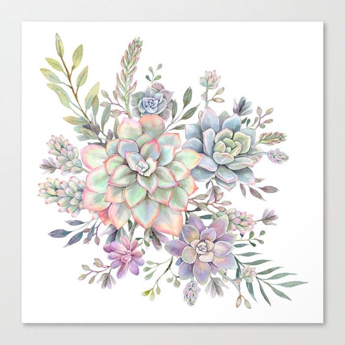 succulent watercolor 8 Leinwanddruck