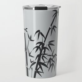 Bamboo big leaves grey - black Travel Mug