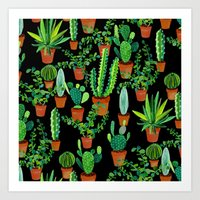 cacti Art Prints featuring Cacti by Sian Keegan