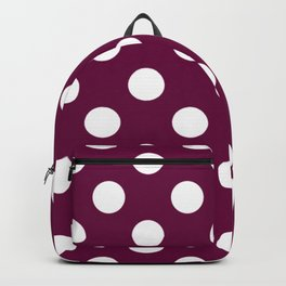 Tyrian purple - violet - White Polka Dots - Pois Pattern Backpack