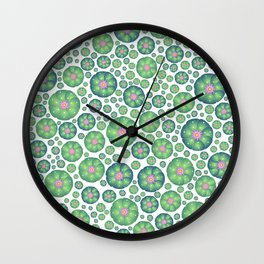 Peyote cactus plant pattern illustration Wall Clock