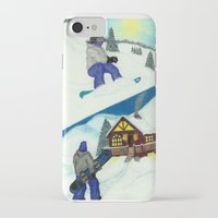 snowboarding iPhone & iPod Cases featuring Snowboarding ; Putting In Your Eight Hours by N_T_STEELART