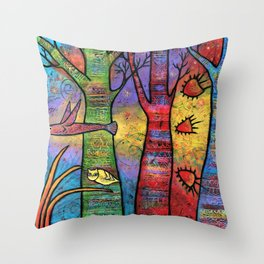 Aspens in an Enchanted Forest with Flying Fish - A Fantastic Journey Throw Pillow