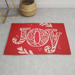 Joy Festive Design for Christmas in Red and Beige Rug