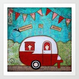 Vintage Camper Red Art Print