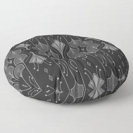 Art Deco Leaf Shapes Black Grey Floor Pillow
