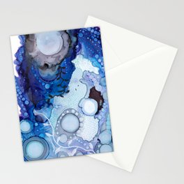 Blue Ocean Botanical Abstract, Carry Me Away Stationery Cards