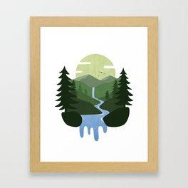Forest Waterfall Landscape Framed Art Print